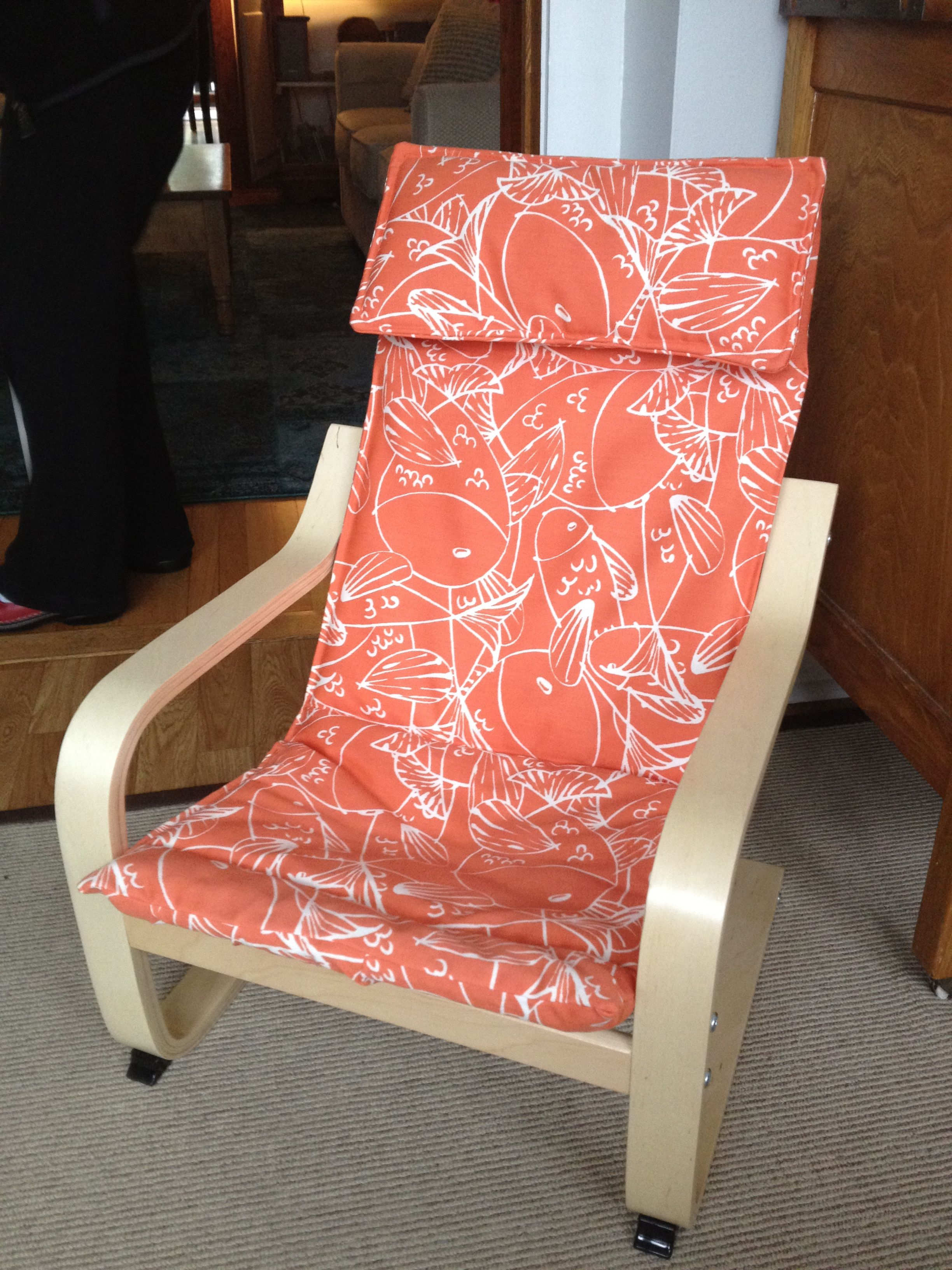 off white dining chair covers cover hire north east reupholstered children 39s ikea poang in outdoor