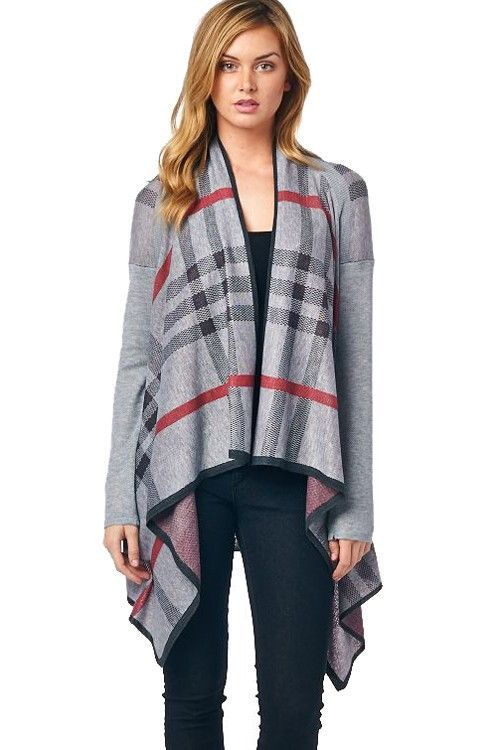 Plaid Open Front Waterfall Cardigan | Products | Pinterest | Products