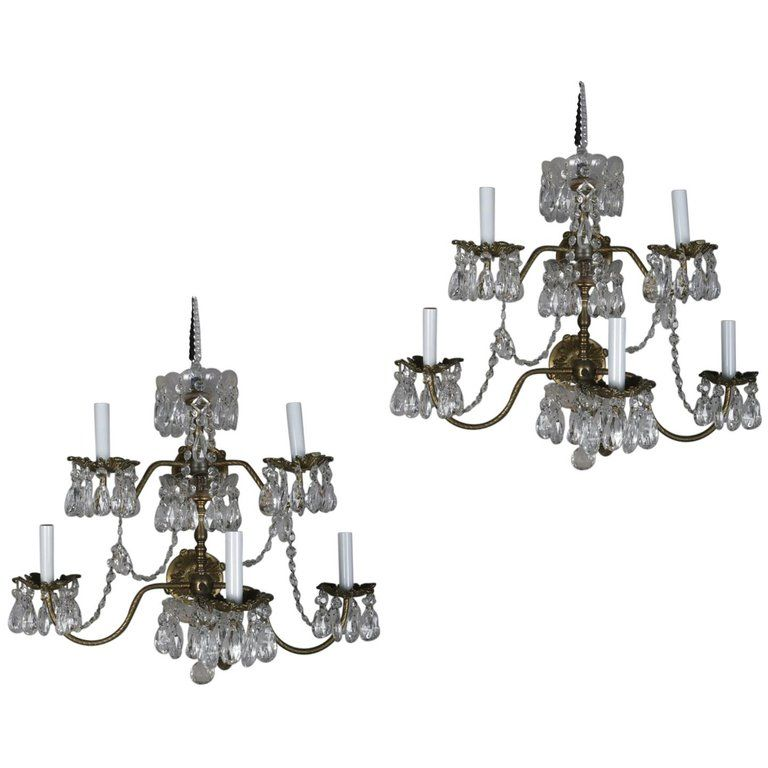 Pair Of French Branch Chandelier Rock Crystal Electric Candle Light Wall Sconces Wall Sconce Lighting Candle Light Chandelier Wall Sconces