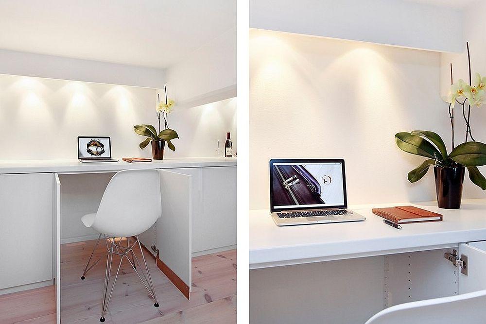 bureau onzichtbaar ingewerkt in ingebouwde kast kantoor home