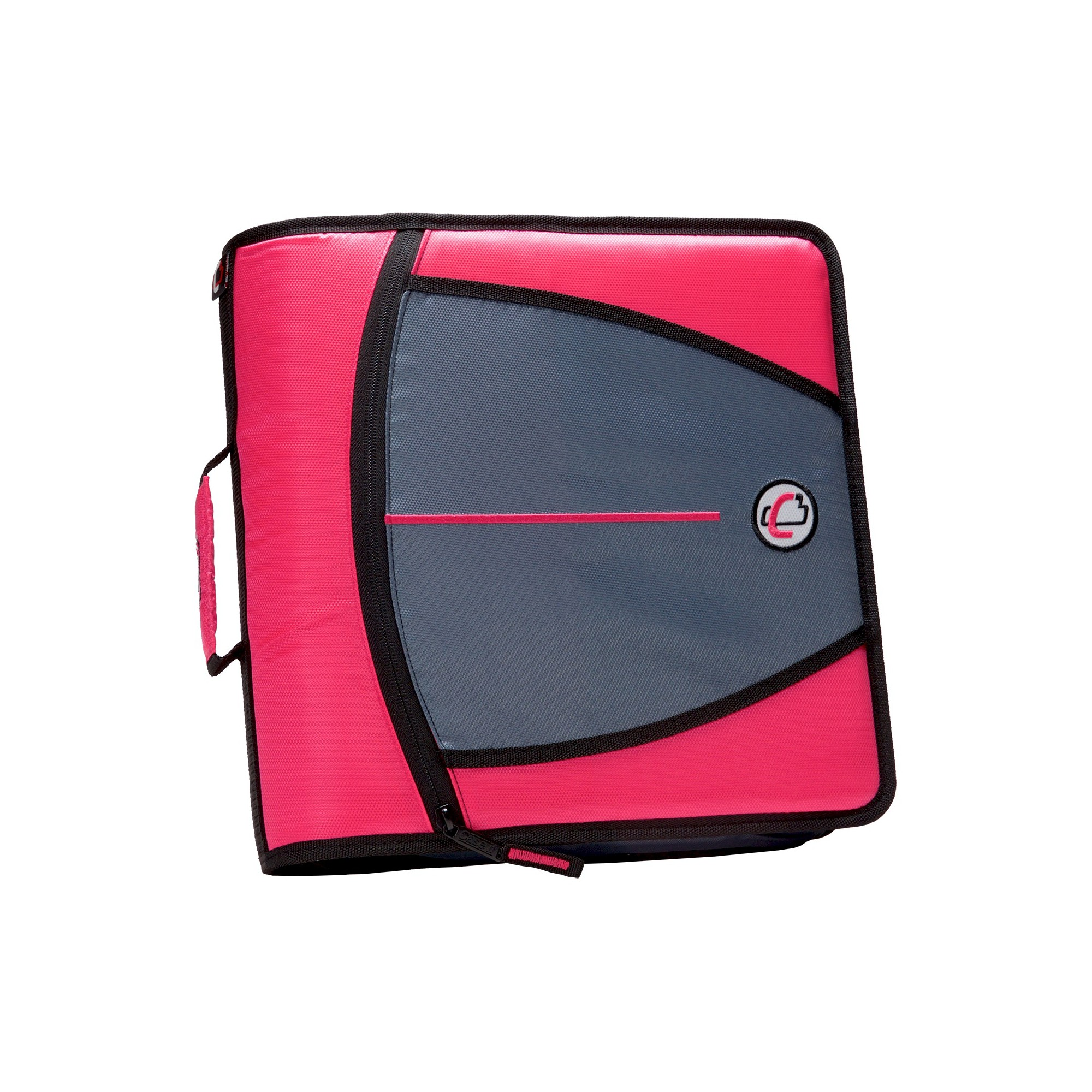 """Case•it 3"""" 3 Ring Binder With Zipper Cover Pink"""