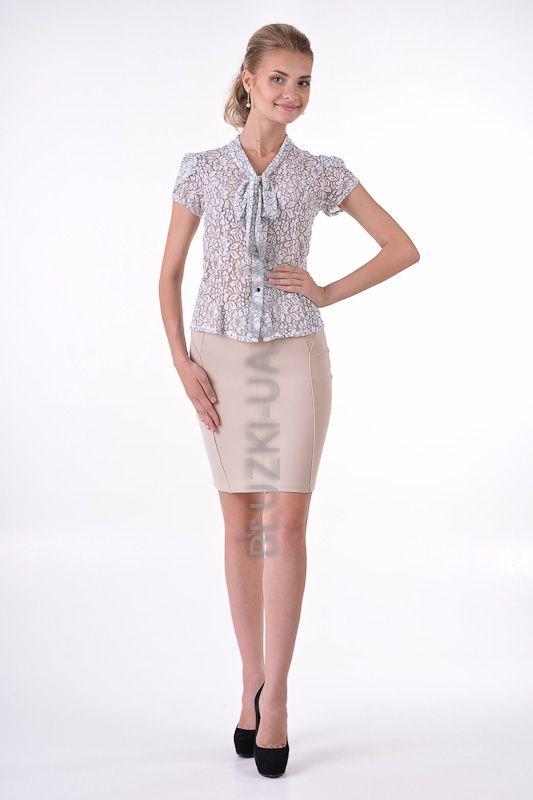 5968d39701c Серая кружевная (гипюровая) блузка с бантом на груди воротником-аскот и  рукавом-