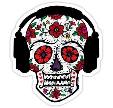 Sugar skull with headphones sticker by andi bird