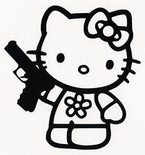 HELLO KITTY HOLDING A HANDGUN PISTOL GUN FIREARMS CAR WINDOW VINYL DECAL  STICKER 599b2ea2c17d5