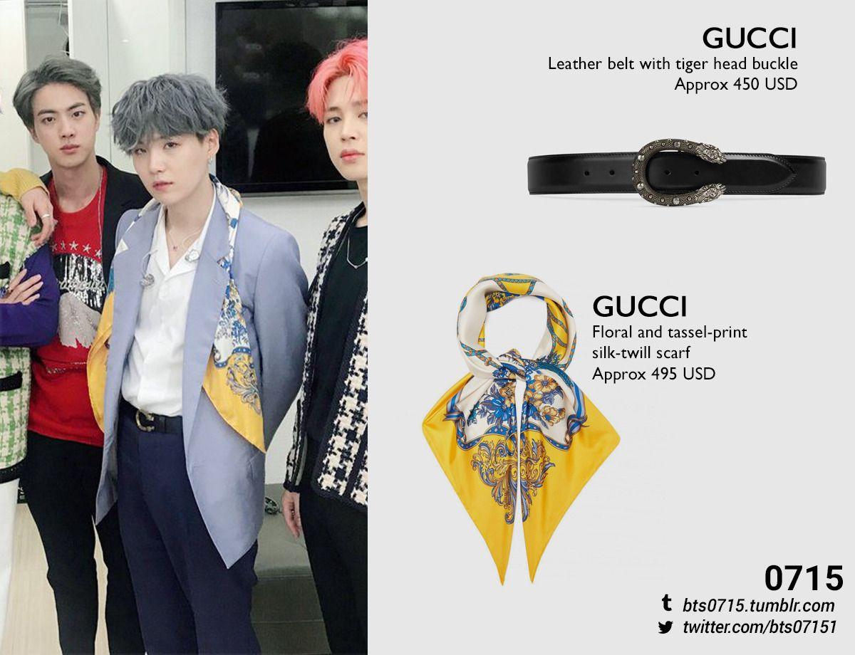 190421 Yoongi Inkigayo Gucci Leather Belt With Tiger Head Buckle X Gucci Floral And Tassel Korean Fashion Men Gucci Floral Silk Twill Scarf