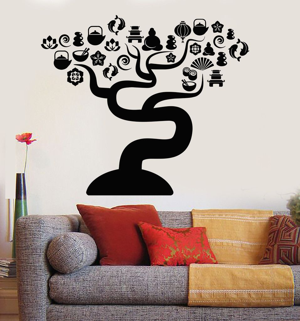 Vinyl Wall Decal Zen Tree Asian Decor Oriental Meditation Room - Vinyl wall decals asian