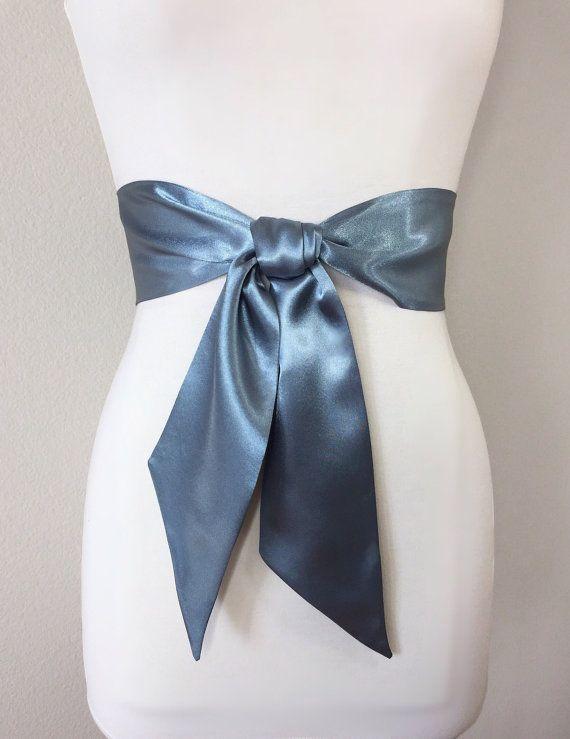 a922b424137 Steel Gray Satin Sash Solid Gray Sash Belt Gray Wedding Dress Sash  Bridesmaid Sash Flower Girl Sash