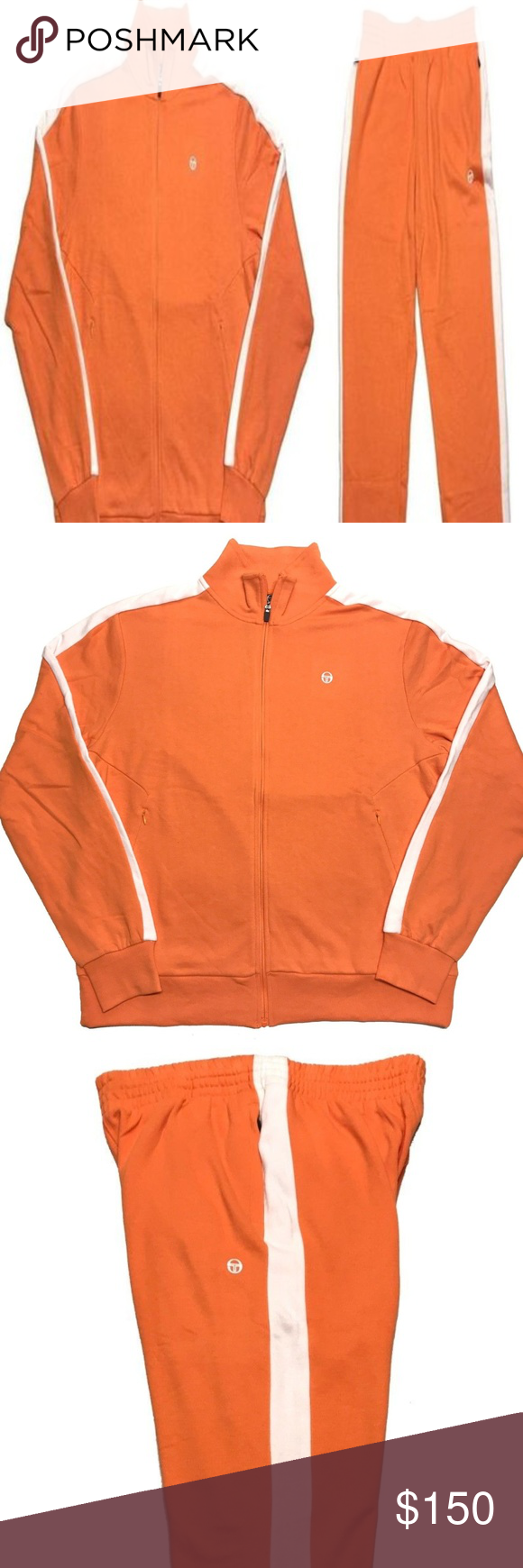 f56376da NEW Sergio Tacchini French Terry Orange Tracksuit This tracksuit is 100%  GENUINE, AUTHENTIC Vintage Sergio Tacchini French Terry Orange White  Tracksuit ...