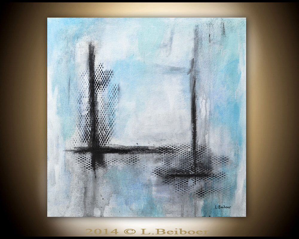 original abstract art painting contemporary chalky white blue acrylic modern abstract fine art