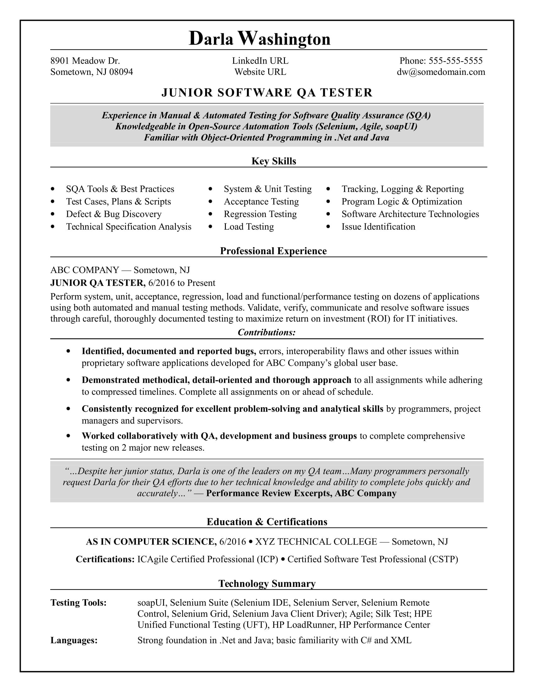 Qa Sample Resume Experienced Qa Software Tester Resume Sample  Resume Advice And .