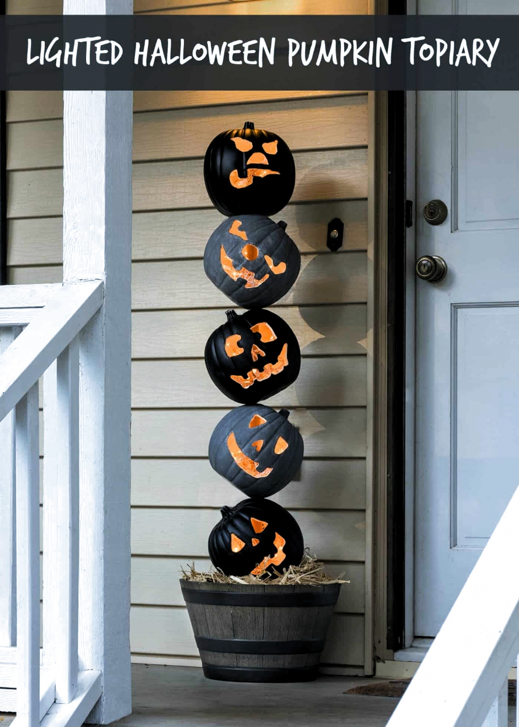 Lighted Outdoor Halloween Pumpkin Topiary DIY Candy in