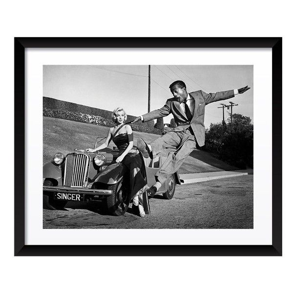 Artography Limited Marilyn Monroe U0026 Sammy Davis Jr. Fine Art Print (4.500  NOK) ❤ Liked On Polyvore Featuring Home, Home Decor, Wall Art, Black, ...