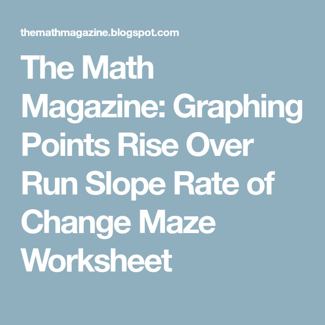 The Math Magazine Graphing Points Rise Over Run Slope Rate Of