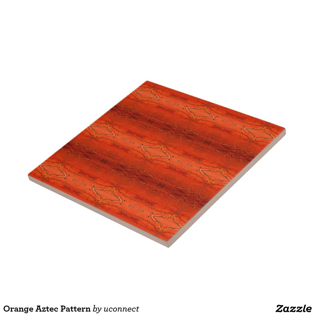 Orange Aztec Pattern Small Square Tile. For the home.