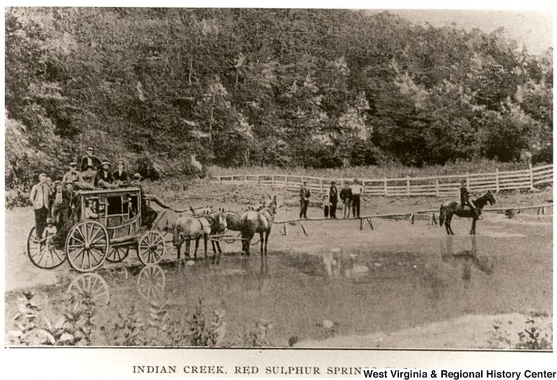 Stagecoach At Indian Creek Red Sulphur Springs In Monroe County W V Dated 1890 1920 Mystery Of History Monroe County Appalachia