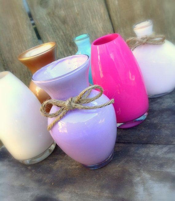 Custom color, hand painted enamel bud vases