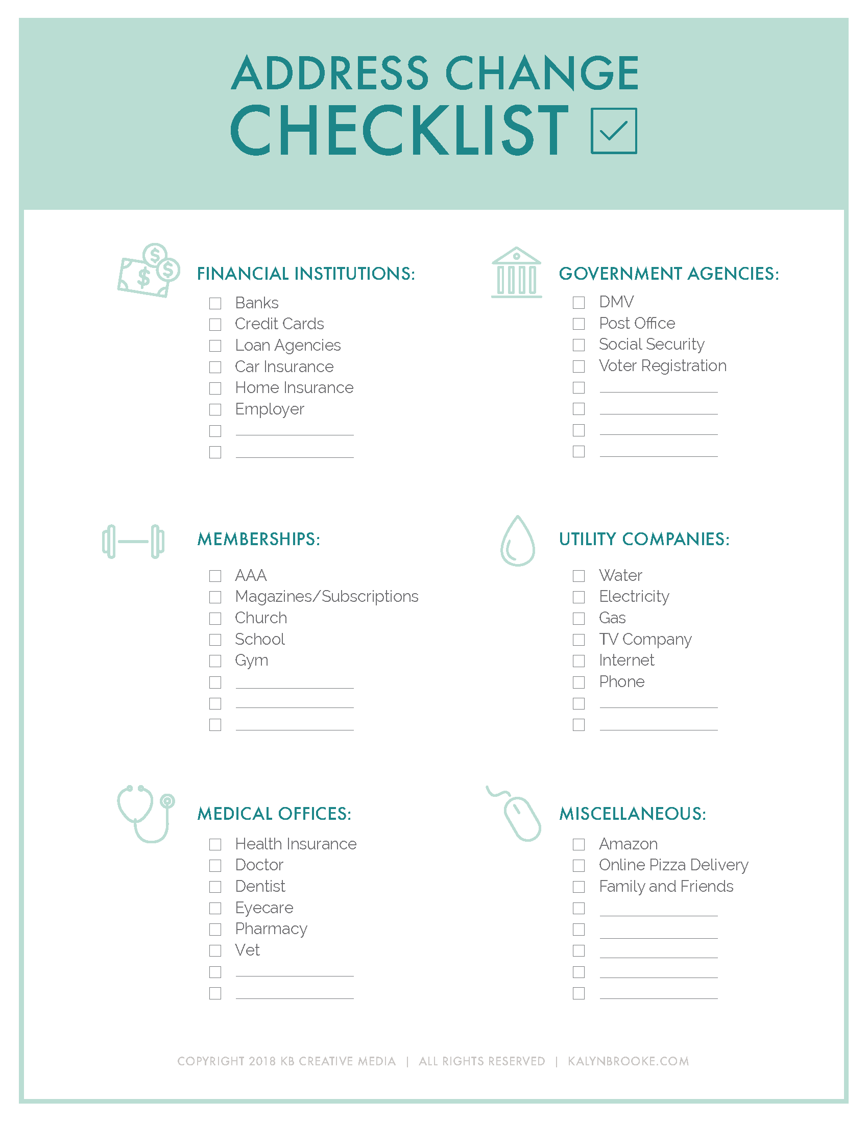 Keep This List Handy For Your Next Move Change Of Address Apartment Moving Checklist Moving House Checklist
