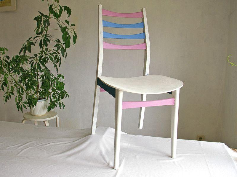 Stuhl Holzstuhl bunte Sprossen Lehne Küchenstuhl | Holzstühle ...