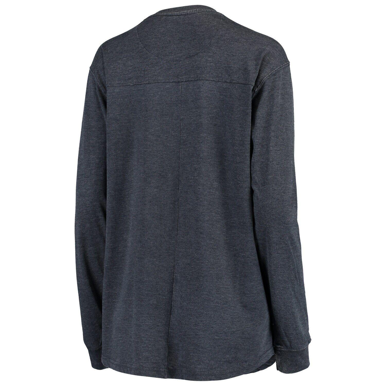 Women's Pressbox Navy West Virginia Mountaineers Debbie Vintage Wash Long Sleeve T-Shirt #westvirginia