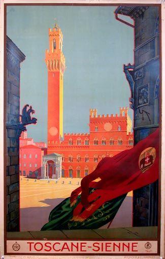 Toscane Sienne 1930 Affiches De Voyage Retro Affiches De Voyage Affiches Retro