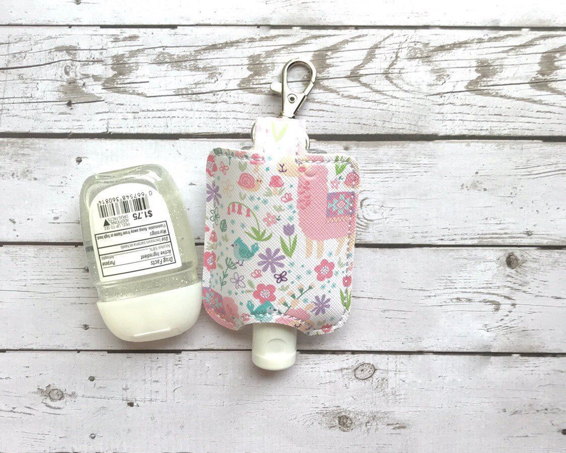 Pink And White Llama Hand Sanitizer Holder Back To School