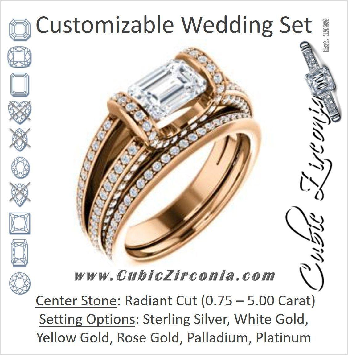 Cz wedding set featuring the scarlett engagement ring radiant cut