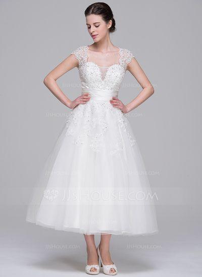 b010a37da0f2 A-Line/Princess Sweetheart Tea-Length Tulle Wedding Dress With Ruffle  Beading Appliques