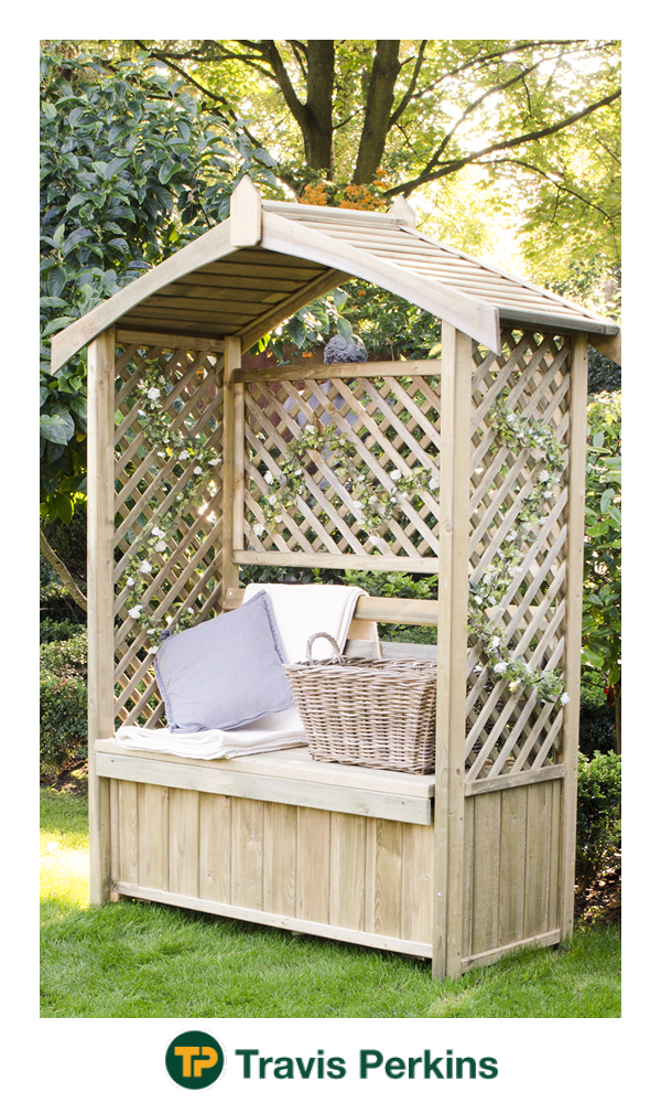 Forest Garden Lyon Arbour is part of garden Seating Kids - The beautiful Lyon Arbour combines three lattice panels that are perfect for climbing plants and a seat that can comfortably fit two people  Create a little sanctuary to enjoy your garden from and enjoy the scent of summer flowers  The arbour is manufactured from Pressure Treated timber to give it a 15 year guarantee against rot and fungal decay and has been smoothplaned for a splinter free finish  The solid timber roof offers shelter from unexpected rain showers and the sun  Delivered flat packed for easy selfassembly  Fixings and instructions are all included
