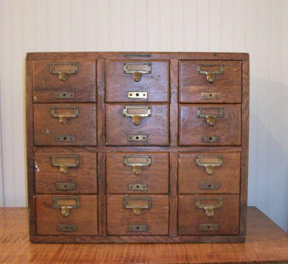 antique 12 drawer oak library card catalog library bureau sole makers index file artist storage. Black Bedroom Furniture Sets. Home Design Ideas