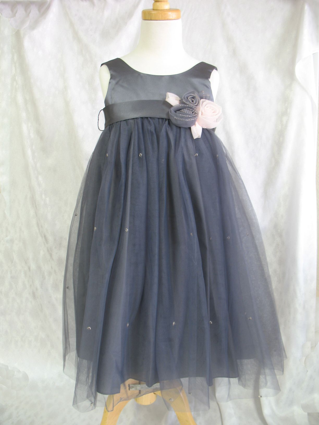 Empire Slate or Charcoal Flower Girl Dress with Beaded Tutu and Flower by US Angels $79.96