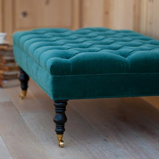 Peacock Blue Ottoman Google Search Teal Ottoman Tufted