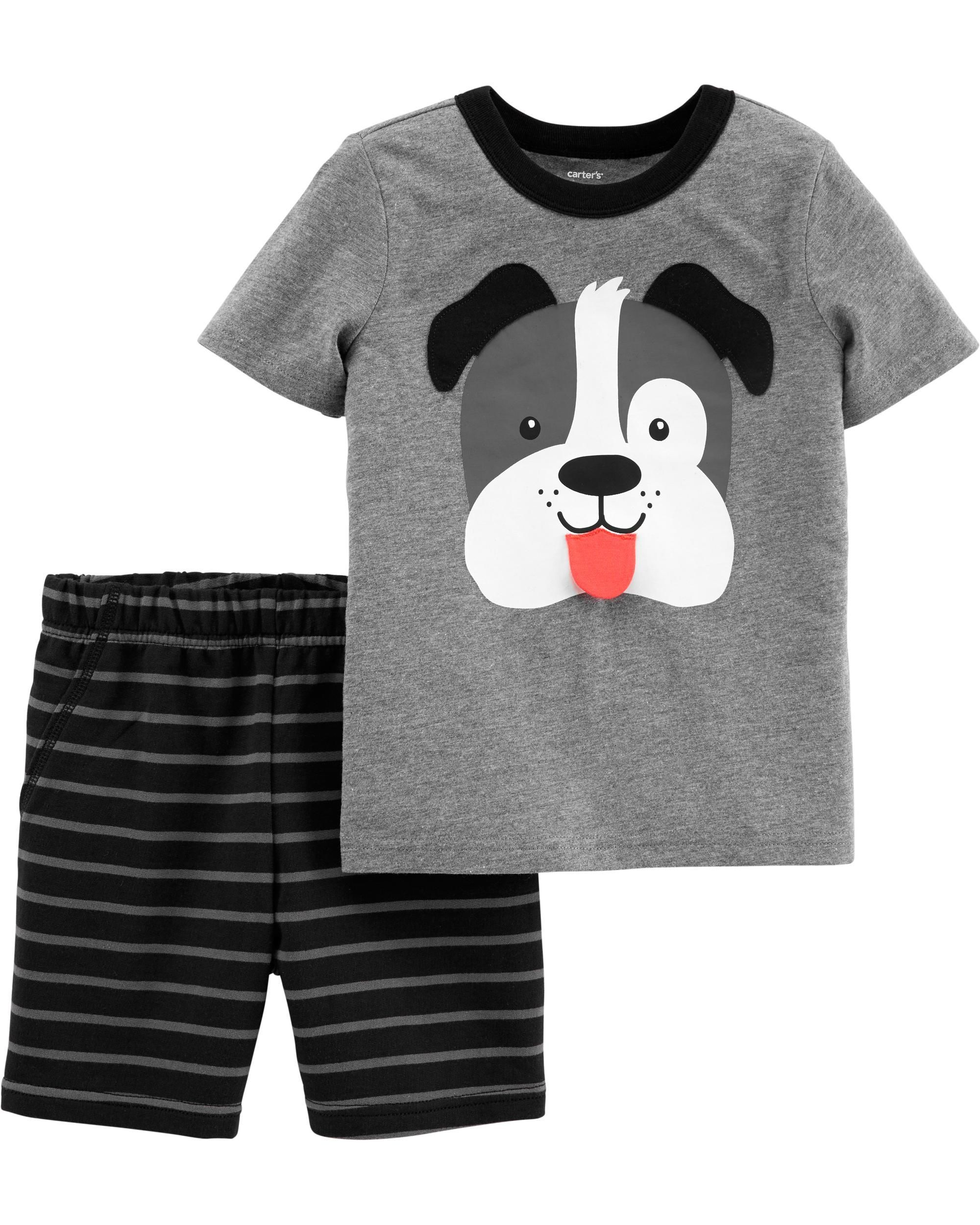 2-Piece Dog Jersey Tee & Striped Short Set | Short sets, Toddler boys,  Carters baby boys