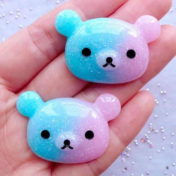 Photo of Rilakkuma Bear Cabochons in Glittery Pastel Galaxy Gradient | Shi