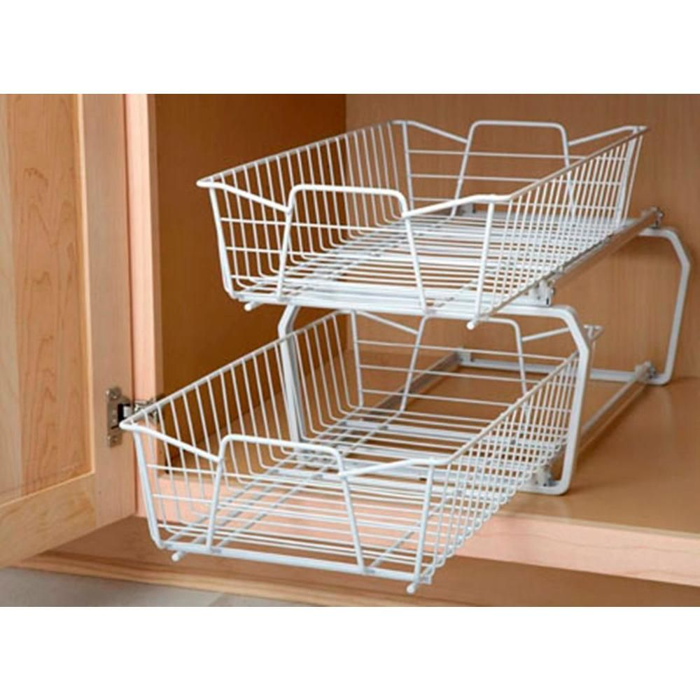 Wire Drawers For Kitchen Cabinets: ClosetMaid 12.11 In. W 2-Tier Ventilated Wire Sliding