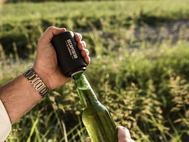 Just slip the Decapitator over a beer bottle, press down, and it automatically and flawlessly removes the cap with almost no effort at all.