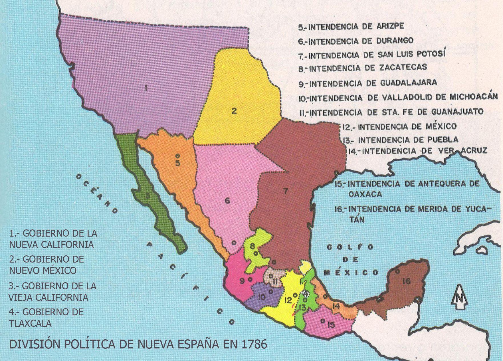 Golfo De Mexico Map.Mapa De Nueva Espana 1786 Division Politico Administrativa