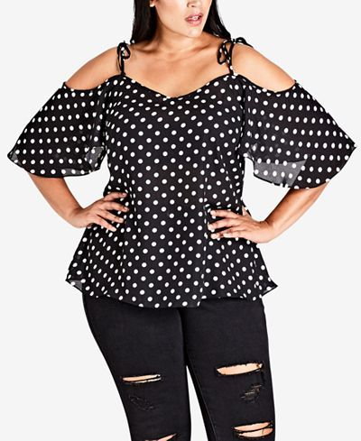 ff465683358193 City Chic Trendy Plus Size Pin Spot Printed Cold-Shoulder Top - Trendy Plus  Sizes - Plus Sizes - Macy s
