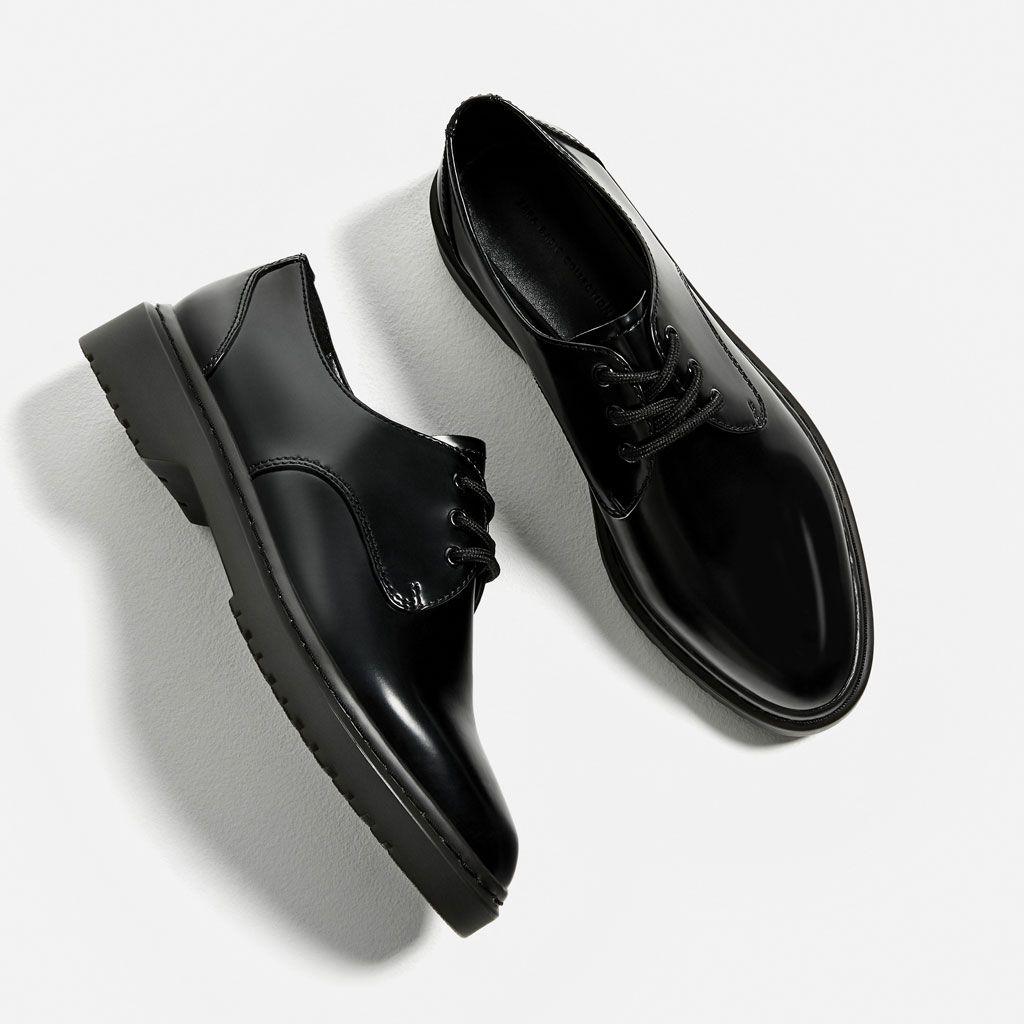 Blucher Negro España MujerZara Zapatos Shoes Planos Work 3R5Aq4jL