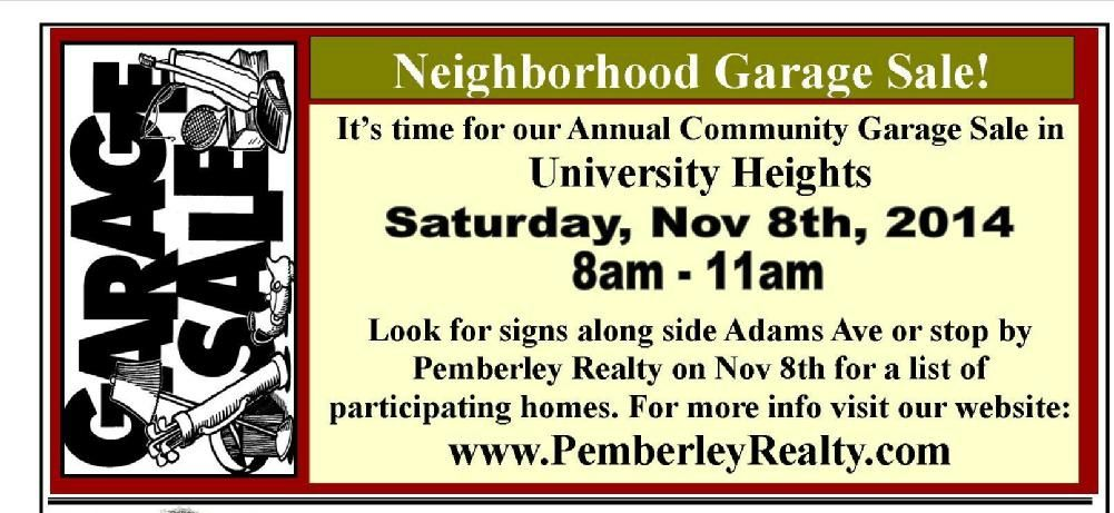 We are hosting University Heights Neighborhood Garage Sale next Saturday!