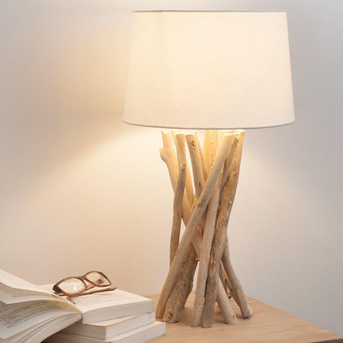 Lampe aus Treibholz mit Lampenschirm aus Baumwolle, H 55cm | Maisons du Monde
