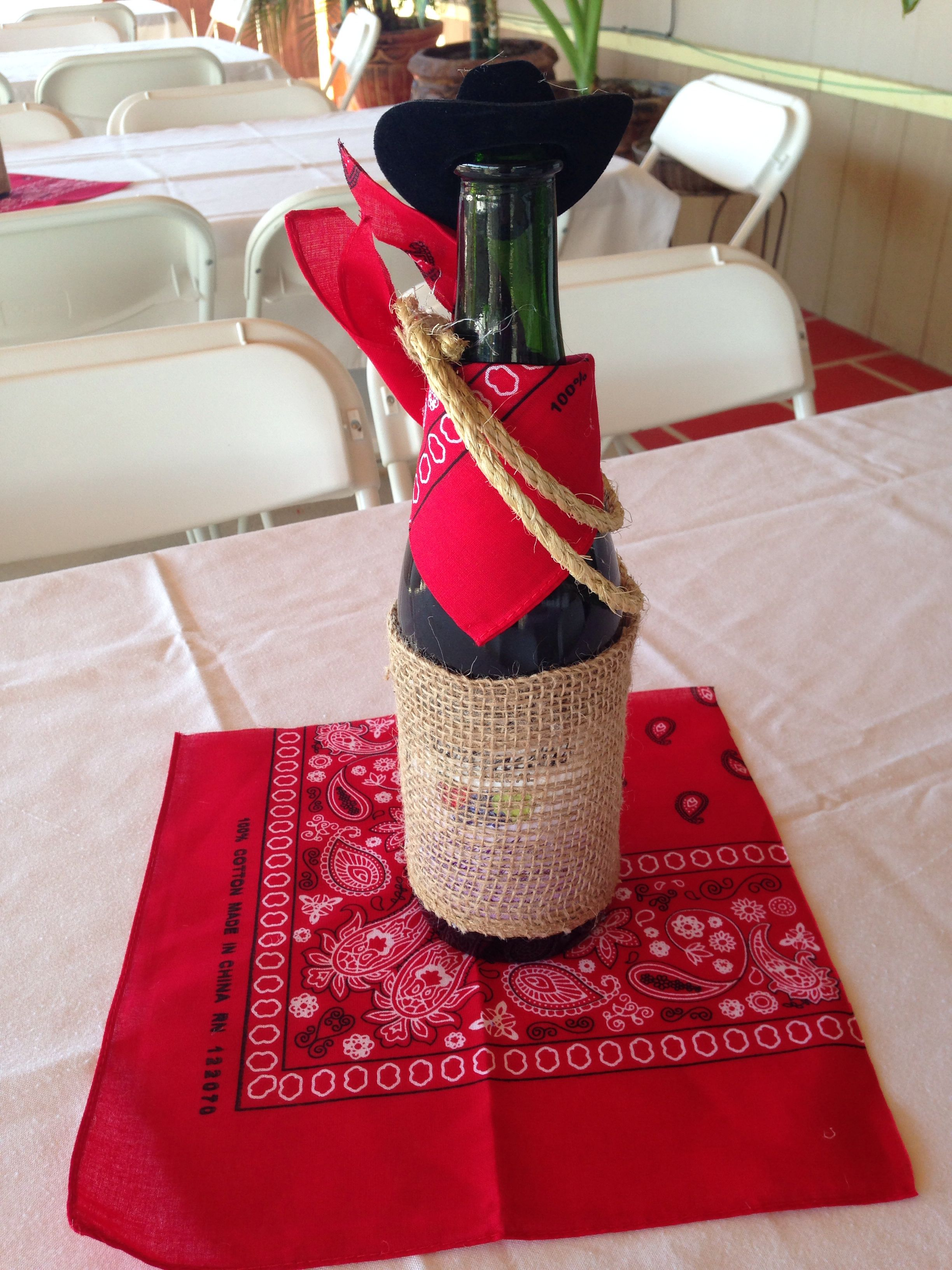 Western themed centerpiece | Cowboy party decorations ...