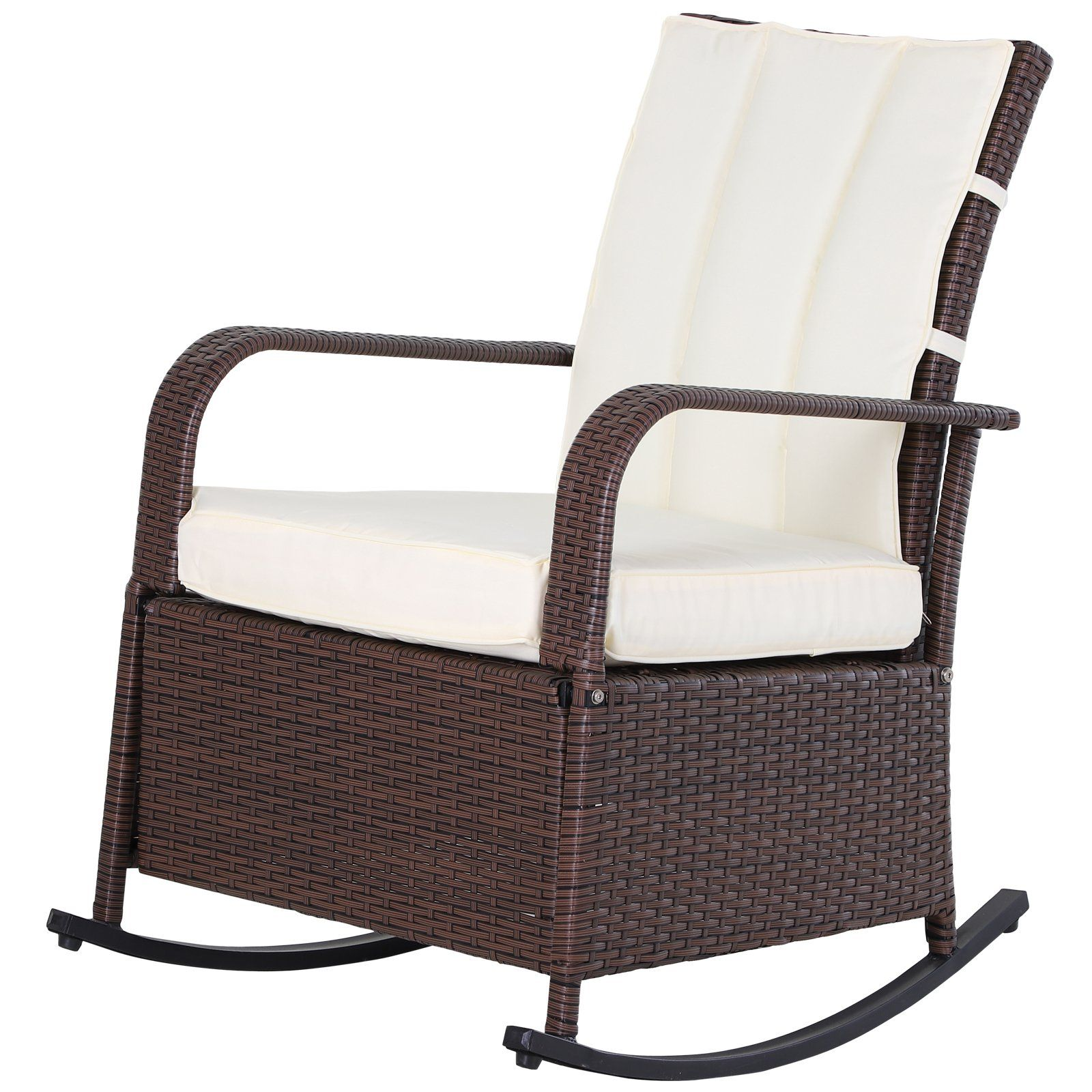 Outsunny Outdoor Wicker Rattan Recliner Rocking Cushioned Chair With Footrest 135 Degrees Of Comfort White Cushions Recline Outdoor Gliders Aosom In 2020 Reclining Rocking Chair Chair Cushions White Cushions