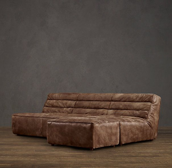 Preconfigured Chelsea Leather Right Arm Sofa Chaise