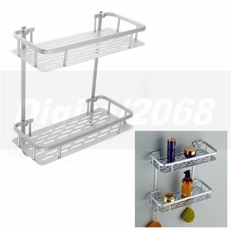 Silver Rectangle 2 Tiers Aluminium Shower Bathroom Accessories ...