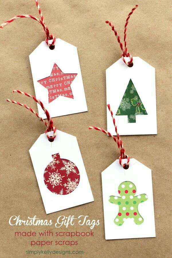 Christmas Holiday Tags Made If Scraps Of Cardstock And Printed