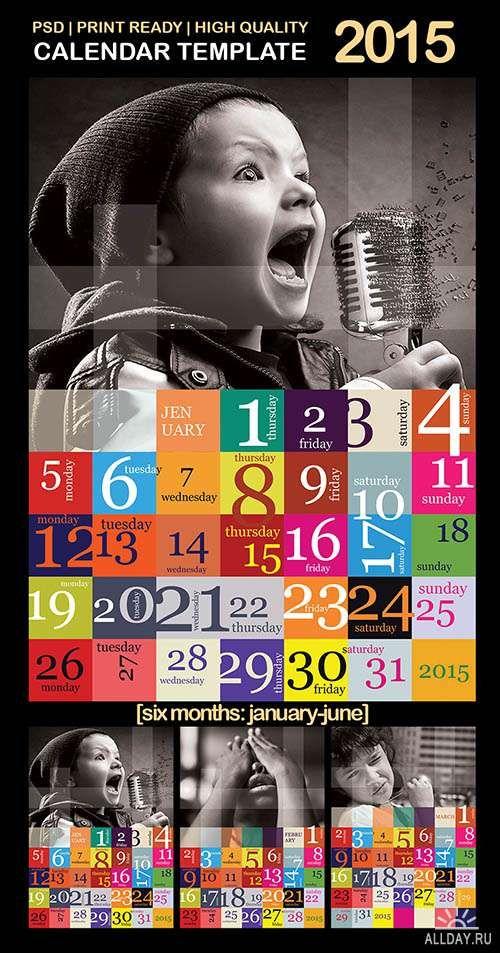 PSD - Calendar Template 2015 - Creative Grid Font Pinterest