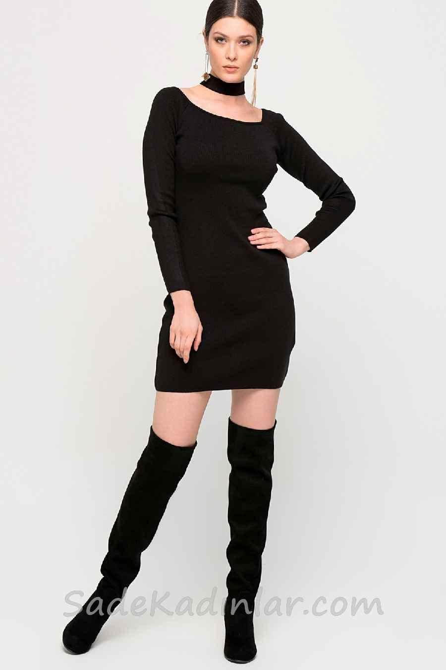 2021 Kislik Elbise Kombinleri Siyah Kisa Genis Yaka Uzun Kollu Sade Moda Moda Stilleri Kadin Modasi