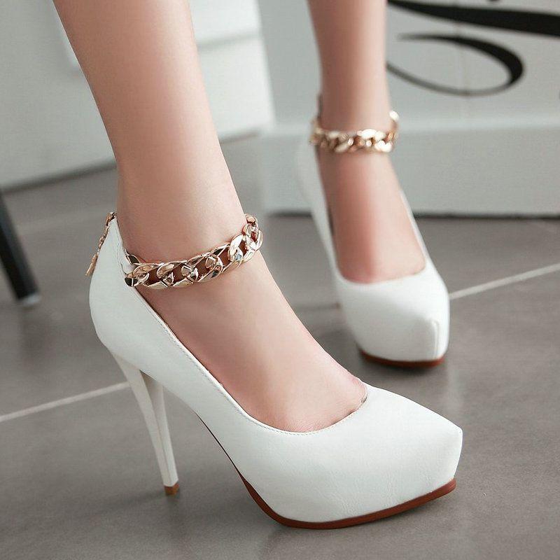 Rosa tacones gruesos alrededor del dedo del pie tobillo hebilla correa bombean zapatos para mujeres E7eM4