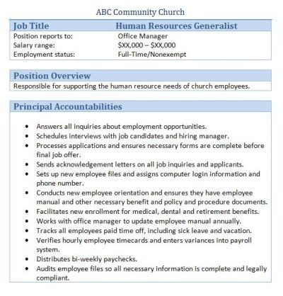 Sample Church Employee Job Descriptions | Job Description