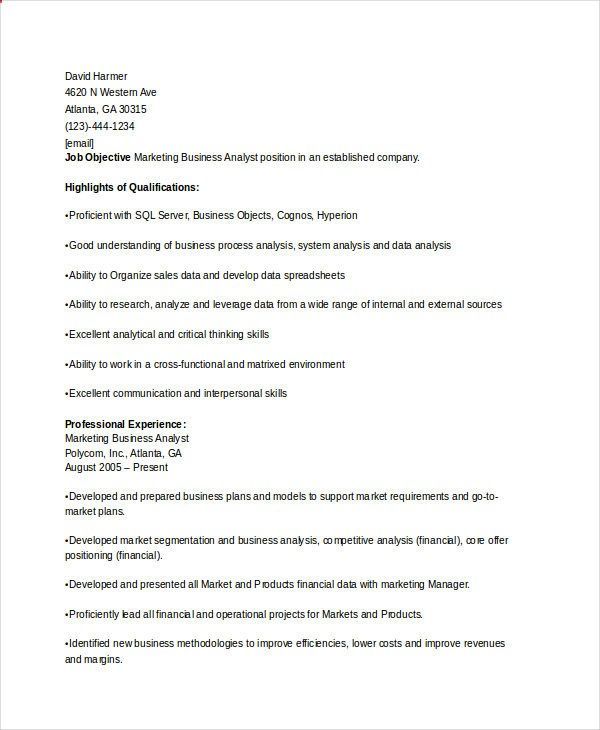 Marketing Business Analyst Resume , Marketing Resume Samples for